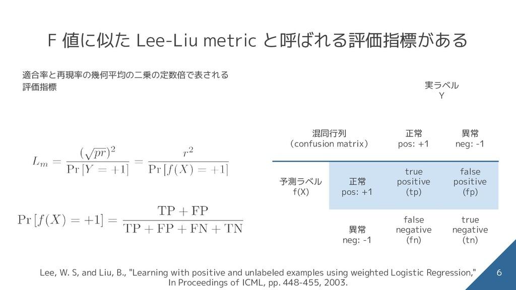 F 値に似た Lee-Liu metric と呼ばれる評価指標がある 適合率と再現率の幾何平均...