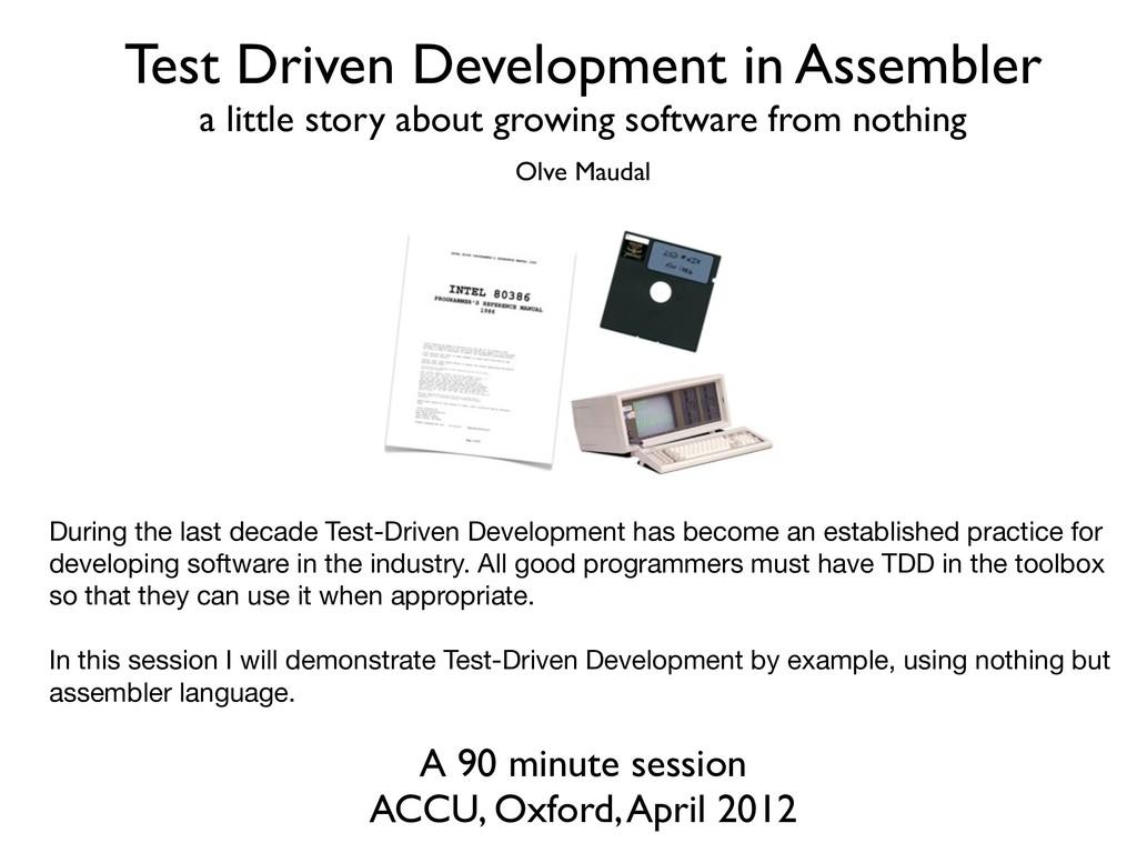 Test Driven Development in Assembler a little s...
