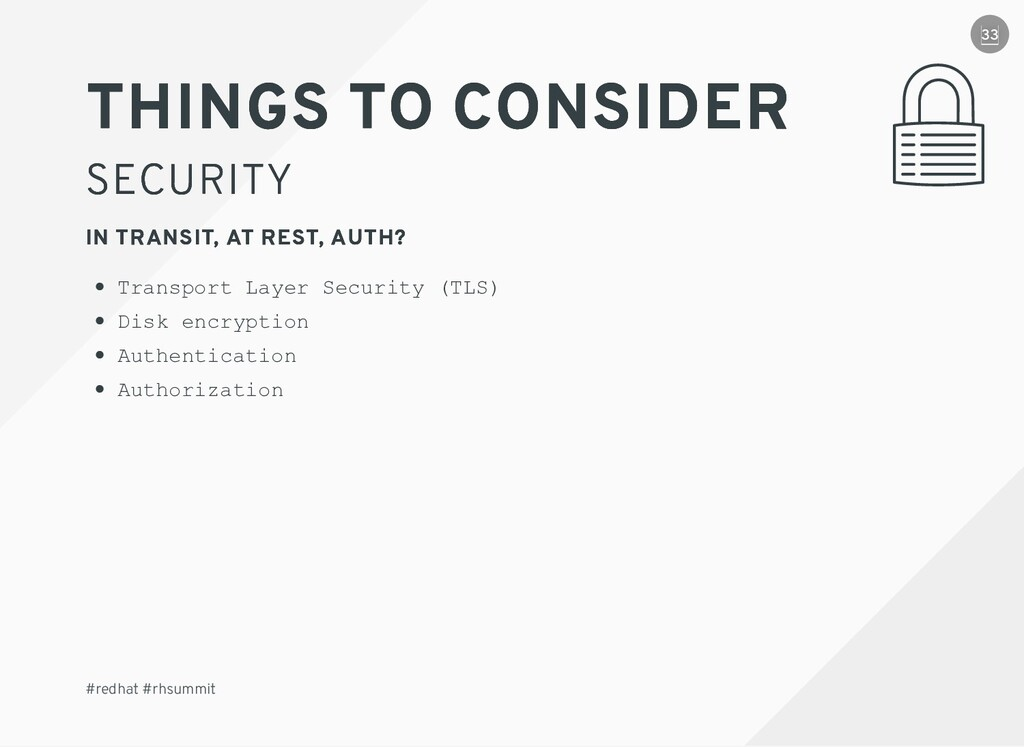 THINGS TO CONSIDER THINGS TO CONSIDER SECURITY ...