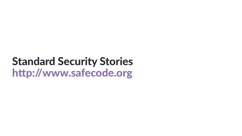 Standard  Security  Stories