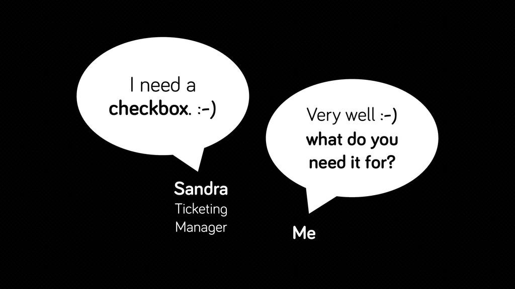I need a checkbox. :-) Sandra Ticketing Manager...