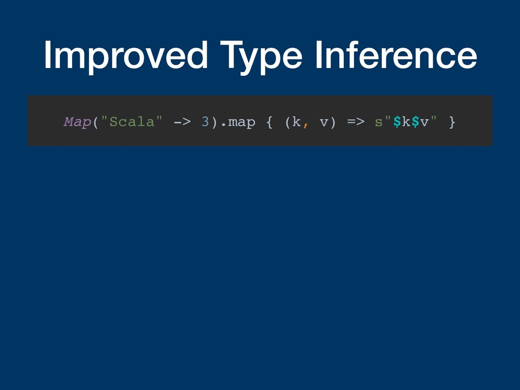 """Improved Type Inference Map(""""Scala"""" -> 3).map {..."""