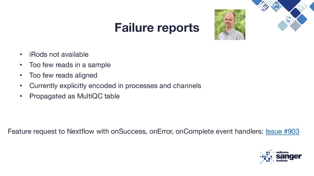 Failure reports • iRods not available • Too few...