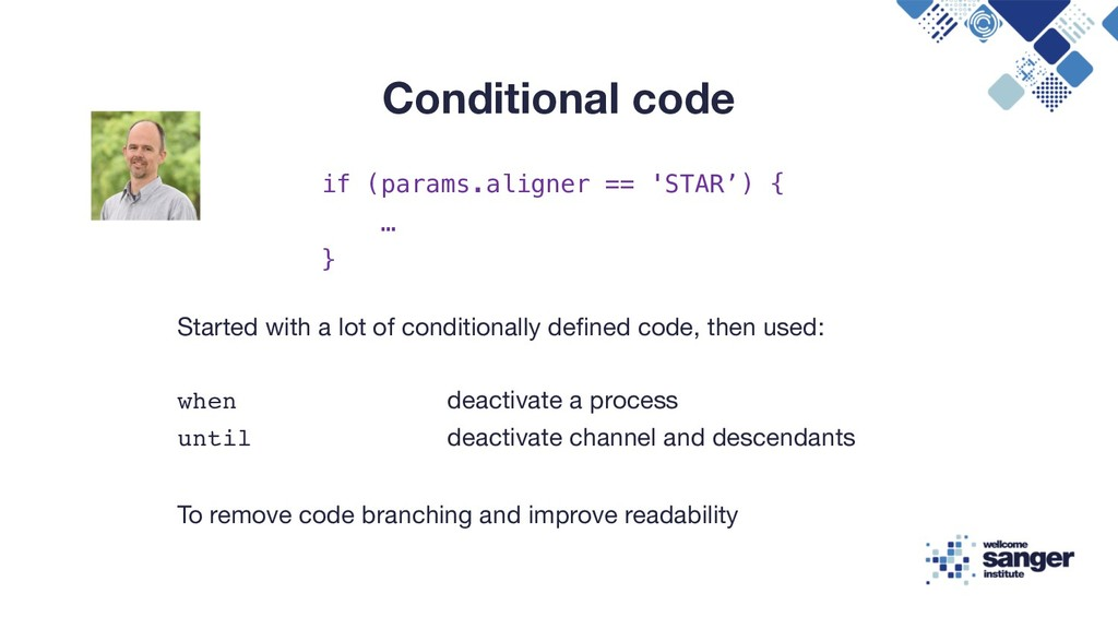 Conditional code Started with a lot of conditio...