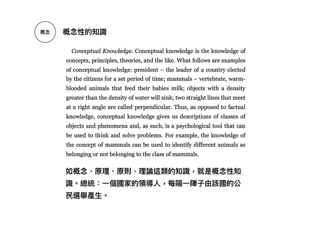 概念念 概念念性的知識 如概念念、原理理、原則、理理論這類的知識,就是概念念性知 識。總統:⼀...