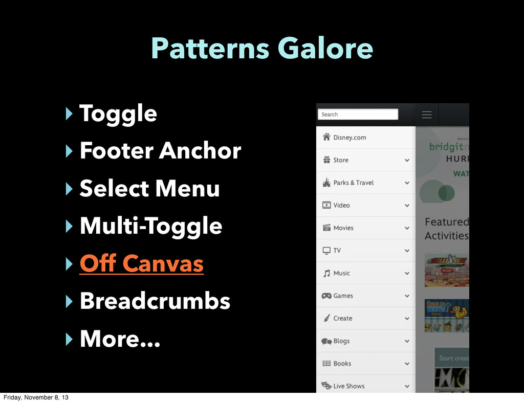 Patterns Galore ‣ Toggle ‣ Footer Anchor ‣ Sele...