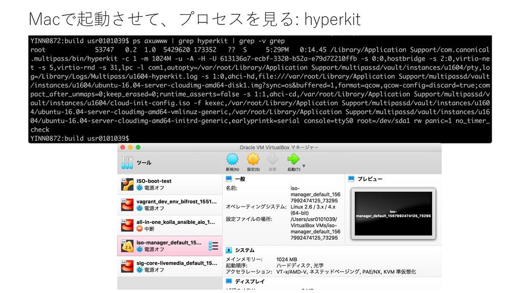 Macで起動させて、プロセスを⾒る: hyperkit