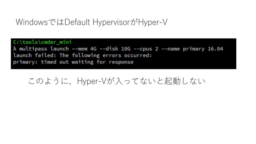 WindowsではDefault HypervisorがHyper-V このように、Hyper...