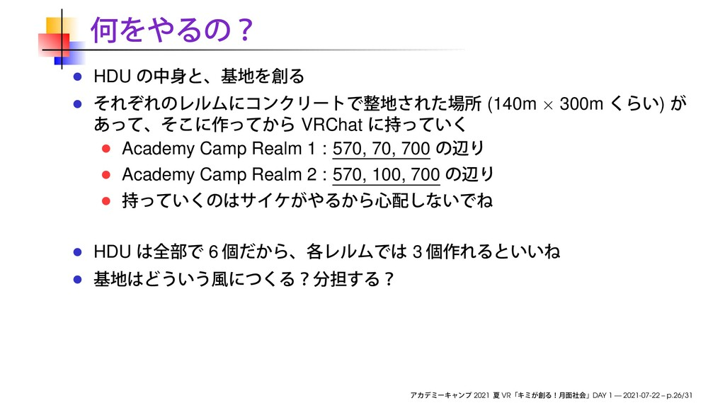 HDU (140m × 300m ) VRChat Academy Camp Realm 1 ...