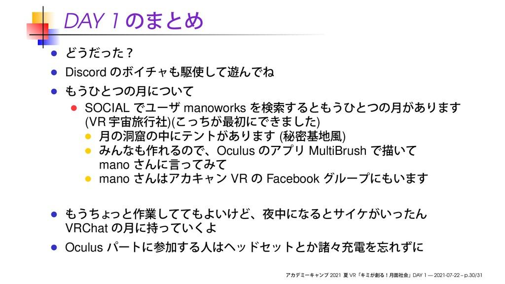 DAY 1 Discord SOCIAL manoworks (VR )( ) ( ) Ocu...