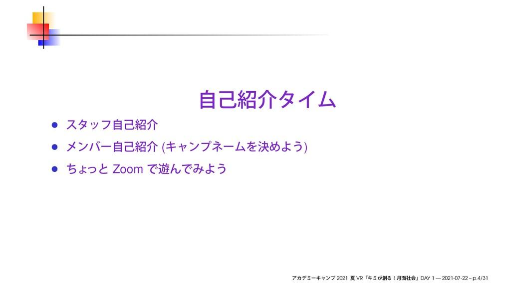 ( ) Zoom 2021 VR DAY 1 — 2021-07-22 – p.4/31
