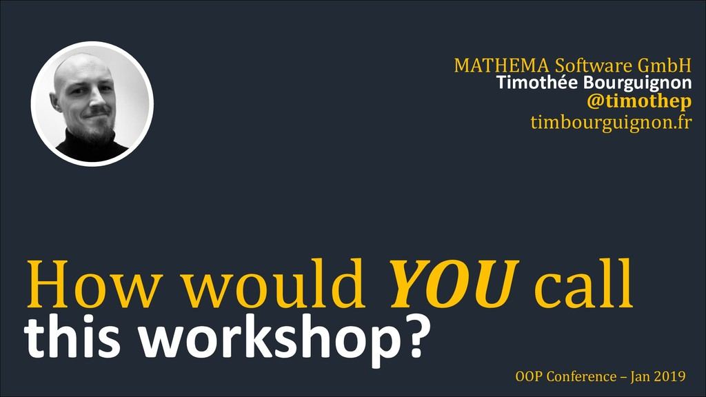 this workshop? How would YOU call MATHEMA Softw...