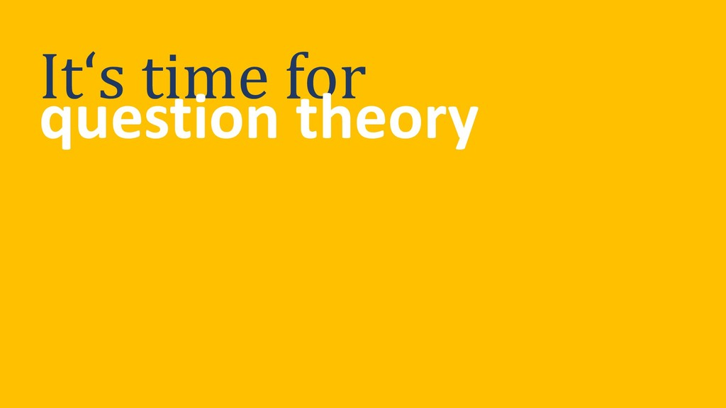 It's time for question theory