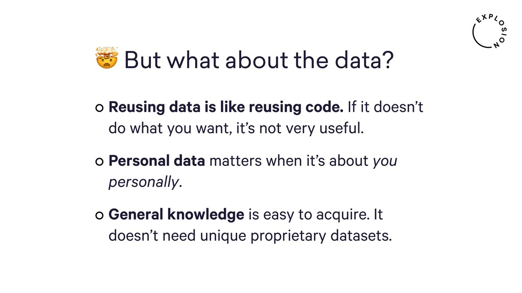 But what about the data? Reusing data is like ...