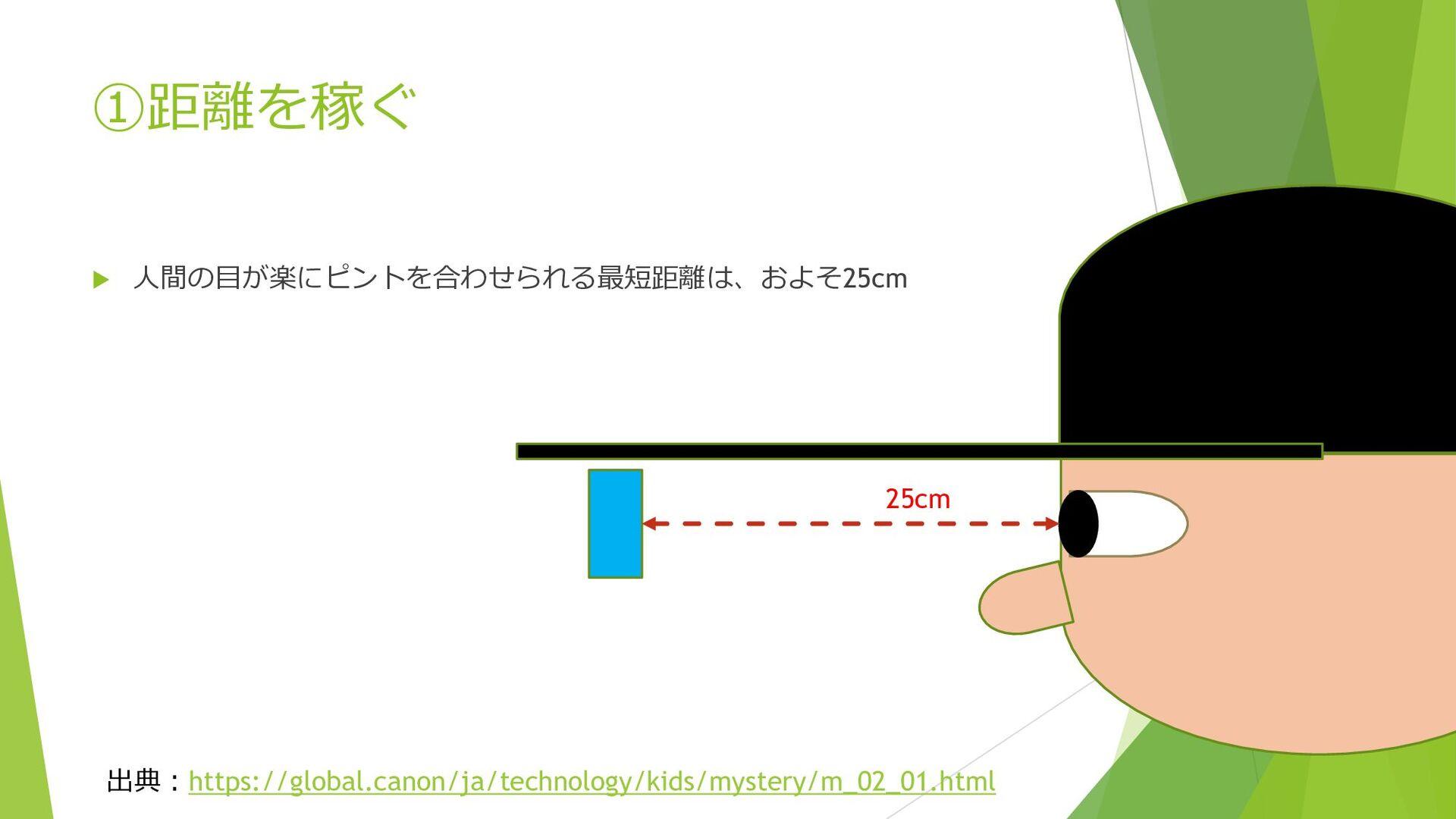 ①距離を稼ぐ  人間の目が楽にピントを合わせられる最短距離は、およそ25cm 出典:http...