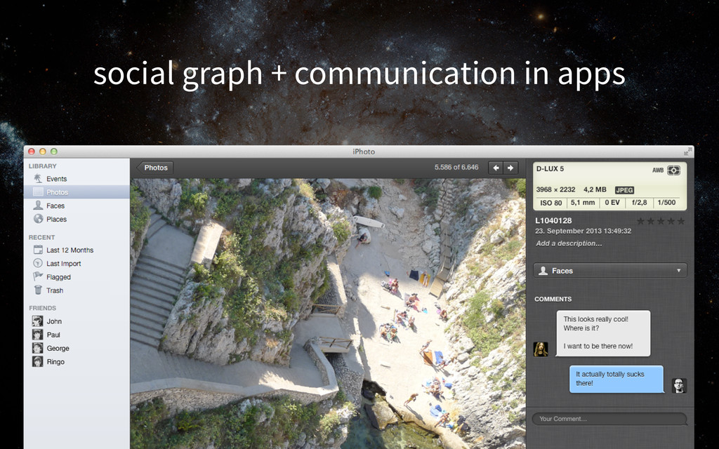 social graph + communication in apps