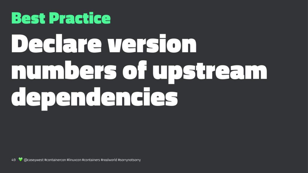 Best Practice Declare version numbers of upstre...