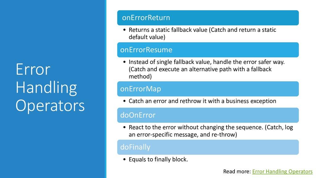 Error Handling Operators onErrorReturn • Return...