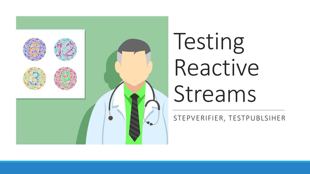 Testing Reactive Streams STEPVERIFIER, TESTPUBL...