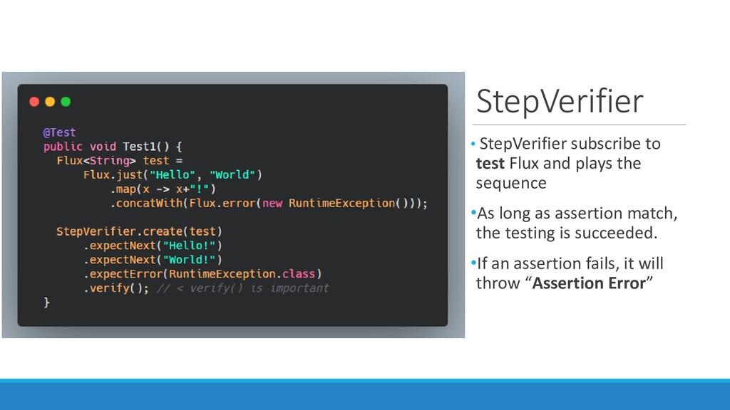 StepVerifier • StepVerifier subscribe to test F...