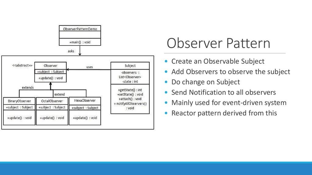 Observer Pattern • Create an Observable Subject...