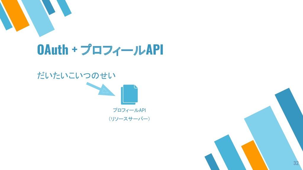 プロフィールAPI (リソースサーバー) OAuth + プロフィールAPI だいたいこいつの...