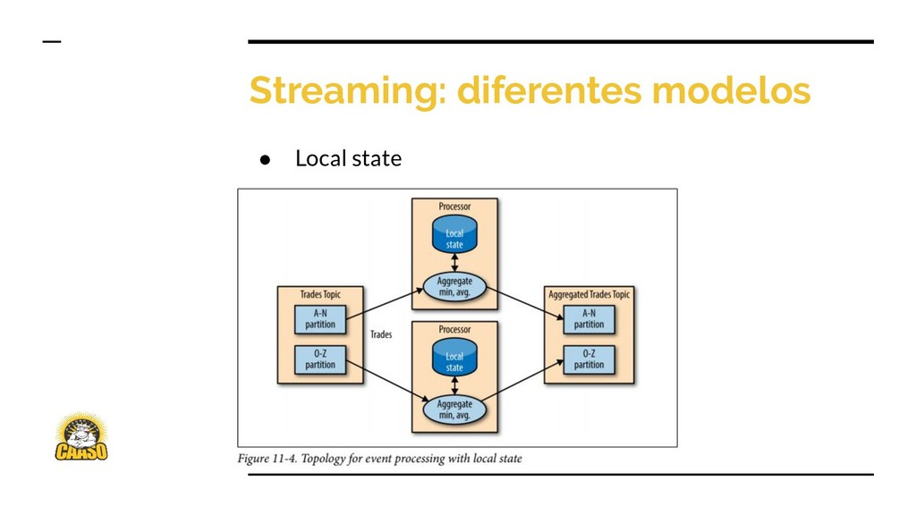 Streaming: diferentes modelos ● Local state