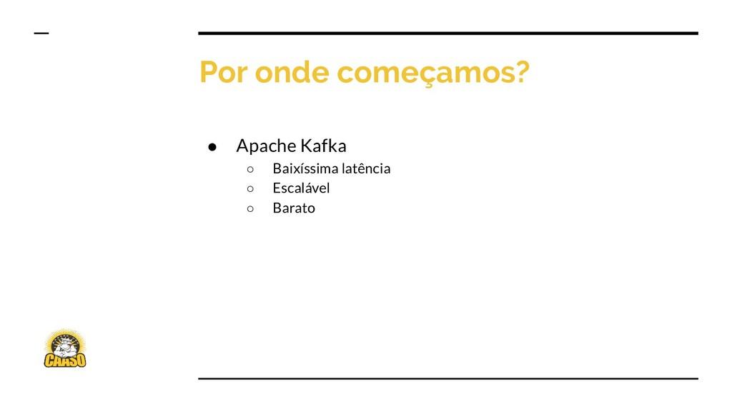 Por onde começamos? ● Apache Kafka ○ Baixíssima...