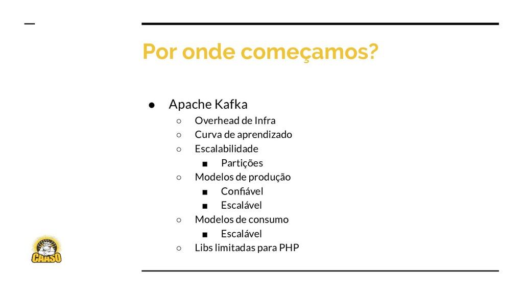 Por onde começamos? ● Apache Kafka ○ Overhead d...