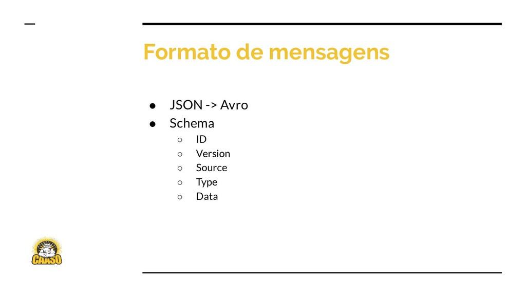 Formato de mensagens ● JSON -> Avro ● Schema ○ ...