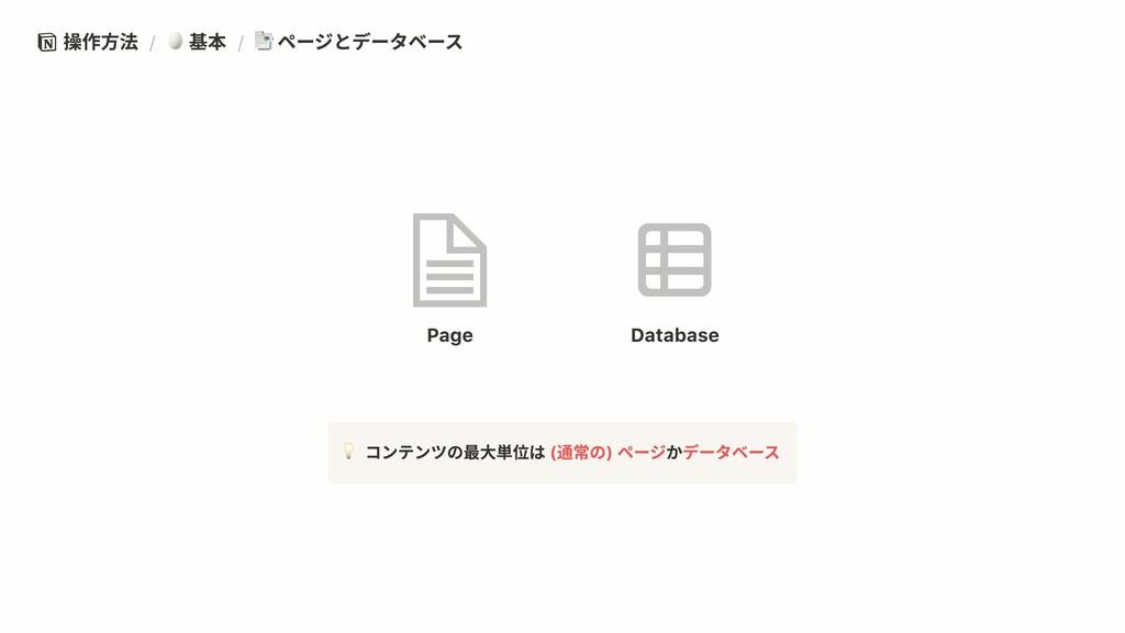操作方法 / 基本 / ページとデータベース (通常の) ページ データベース コンテンツの最...