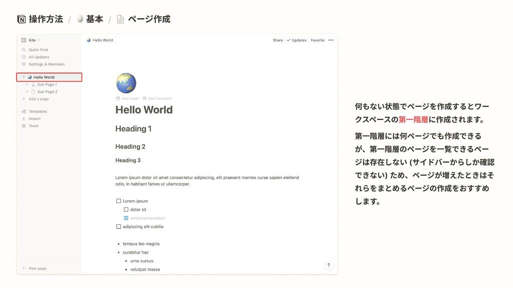 操作方法 / 基本 / ページ作成 第一階層 何もない状態でページを作成するとワー クスペース...