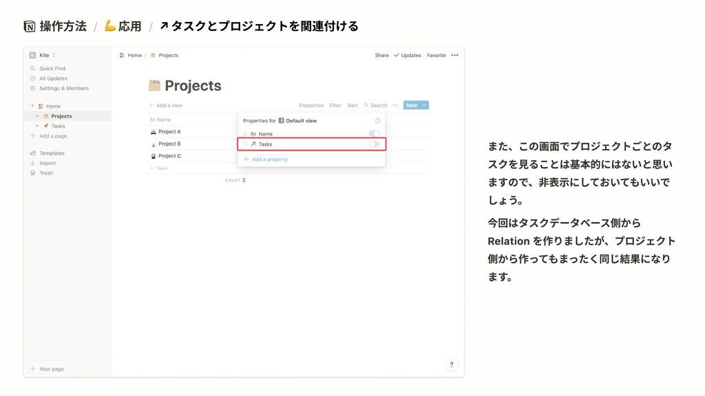操作方法 / 応用 / ↗ タスクとプロジェクトを関連付ける また、この画面でプロジェクトごと...