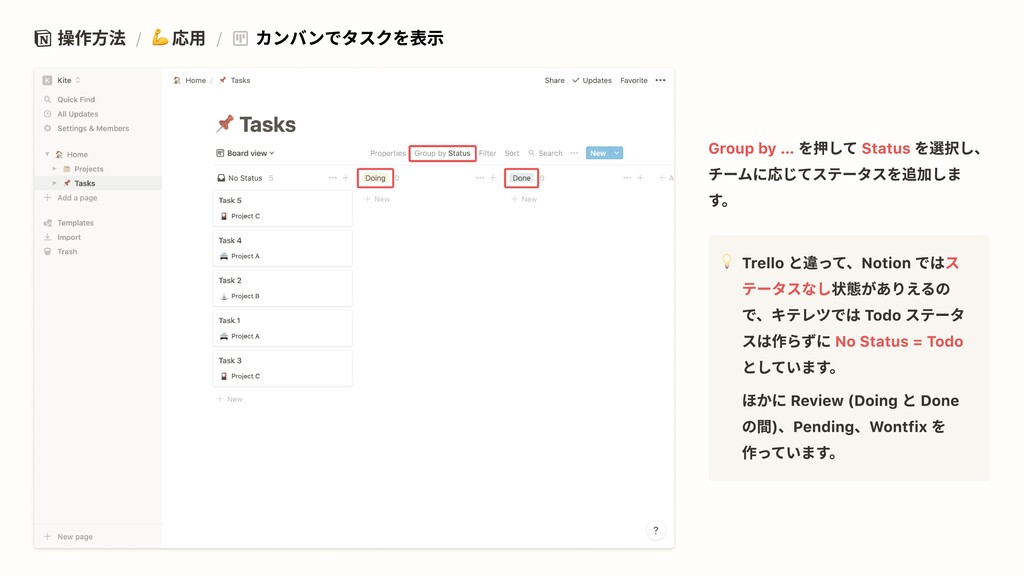 操作方法 / 応用 / カンバンでタスクを表示 を押して を選択し、 チームに応じてステータス...