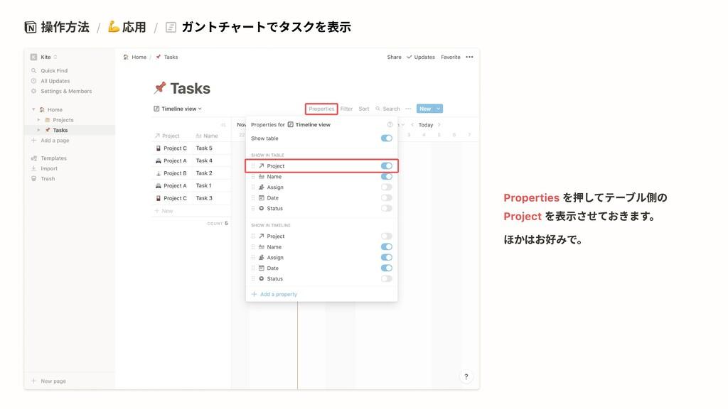 操作方法 / 応用 / ガントチャートでタスクを表示 を押してテーブル側の を表示させておきま...