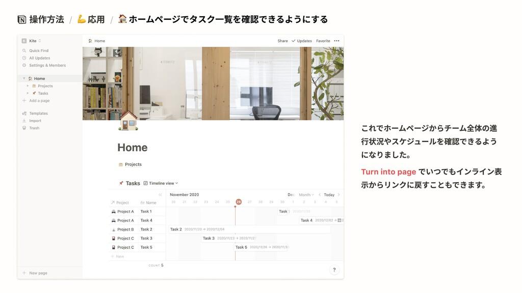 操作方法 / 応用 / ホームページでタスク一覧を確認できるようにする Turn into p...