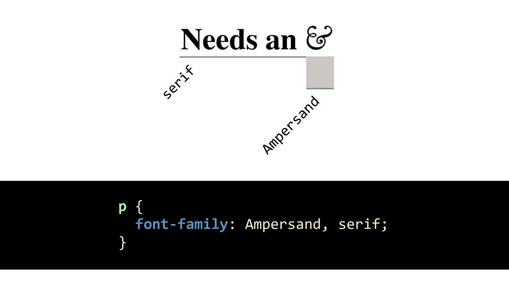 Needs an _ Ampersand serif p {    f...