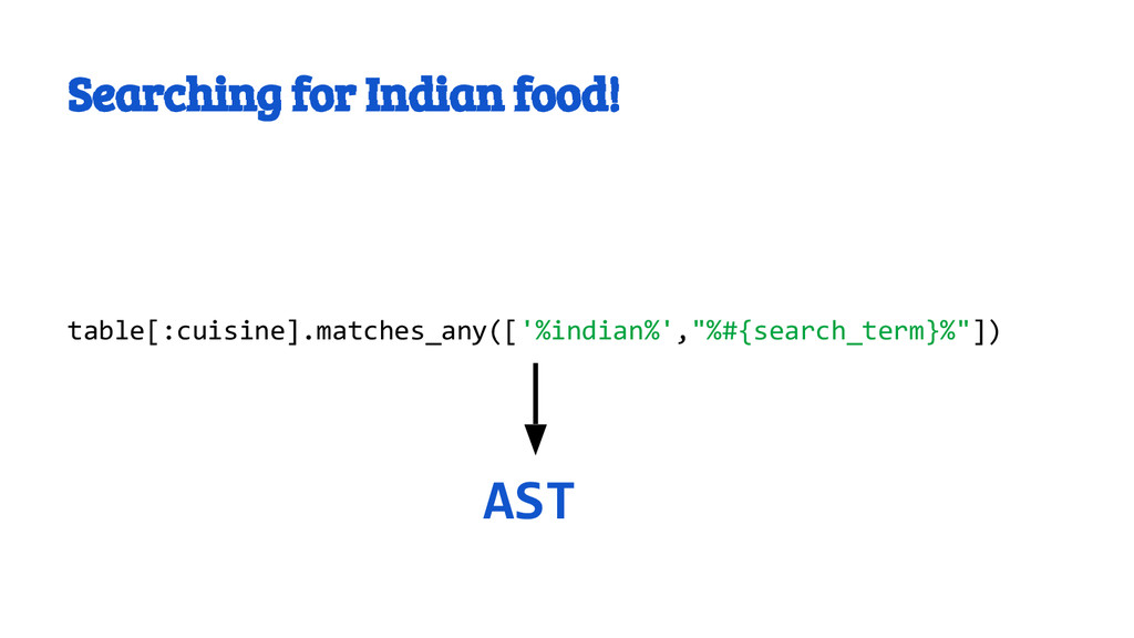 Searching for Indian food! table[:cuisine].matc...