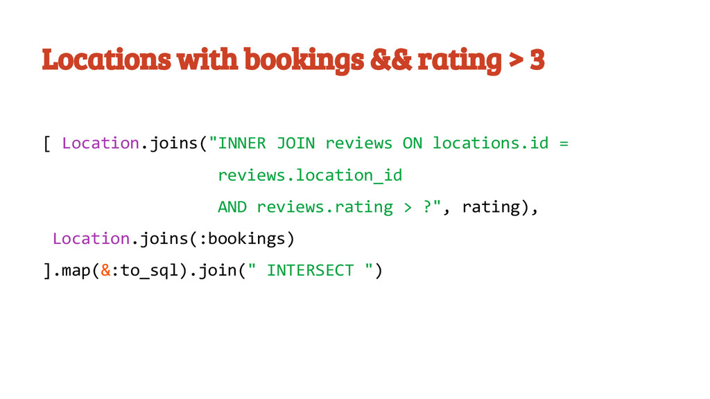 Locations with bookings && rating > 3 [ Locatio...