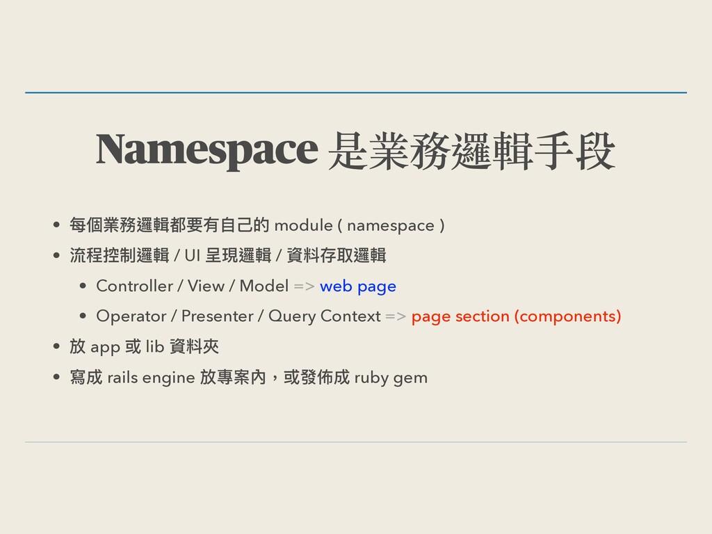 Namespace 是業務邏輯⼿段 • 每個業務邏輯都要有⾃⼰的 module ( names...