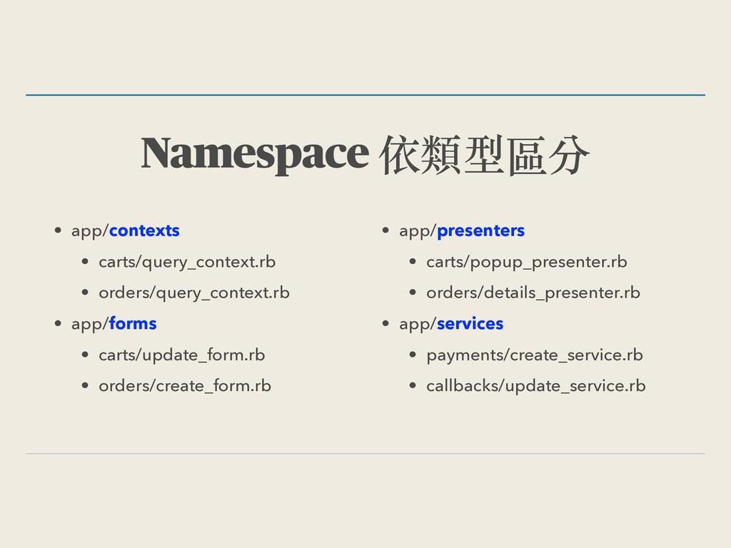 Namespace 依類型區分 • app/contexts • carts/query_co...
