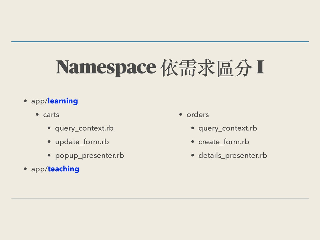 Namespace 依需求區分 I • app/learning • carts • quer...
