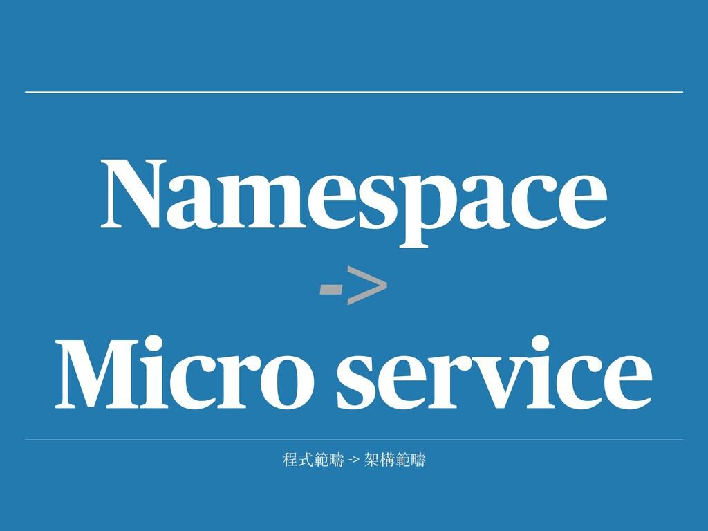 程式範疇 -> 架構範疇 Namespace -> Micro service