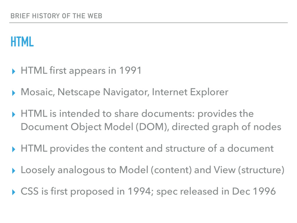 BRIEF HISTORY OF THE WEB HTML ▸ HTML first appea...