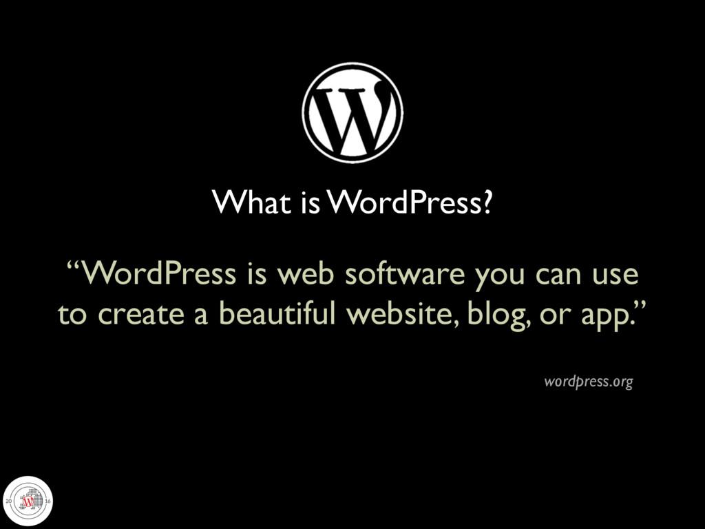 "What is WordPress? ""WordPress is web software y..."