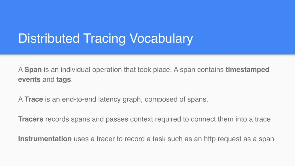Distributed Tracing Vocabulary A Span is an ind...
