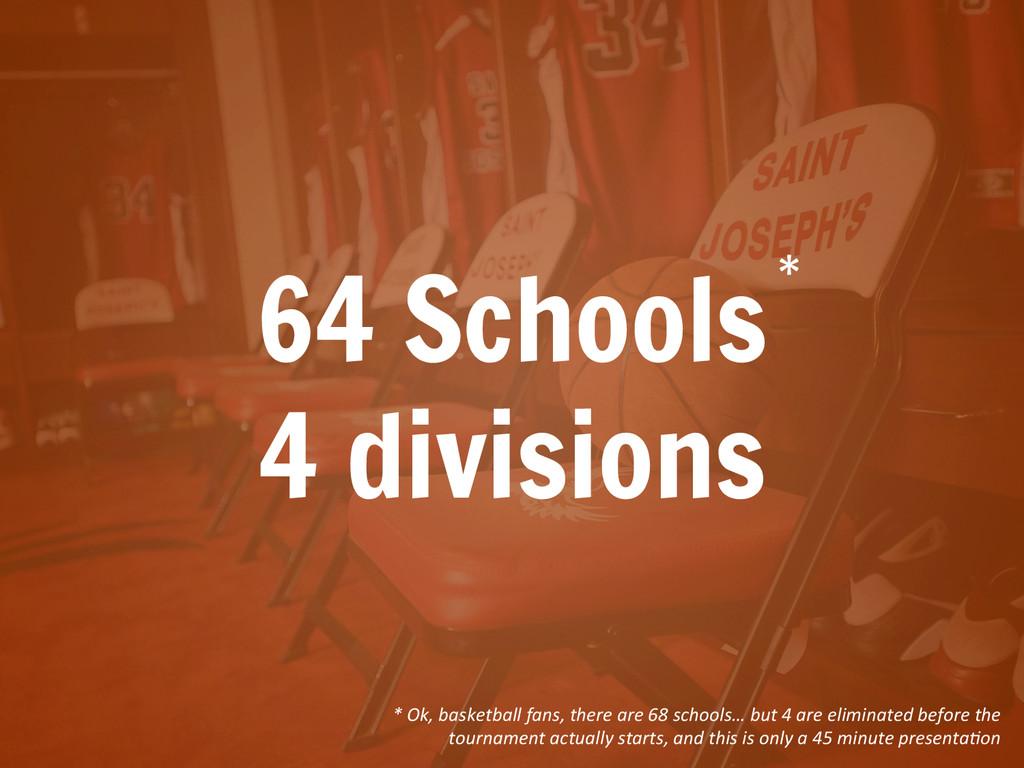 64 Schools 4 divisions *  * Ok, basket...