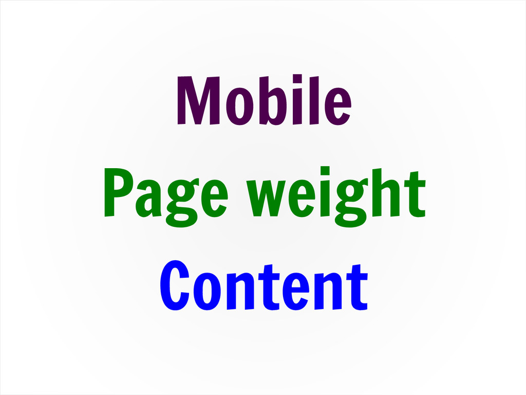 Mobile Page weight Content