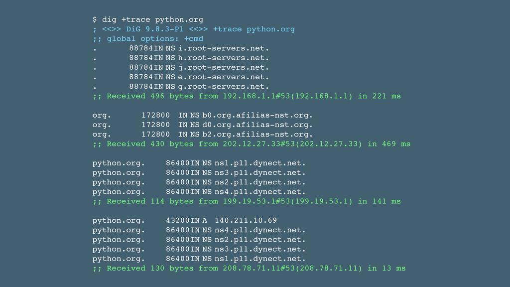 $ dig +trace python.org! ; <<>> DiG 9.8.3-P1 <<...