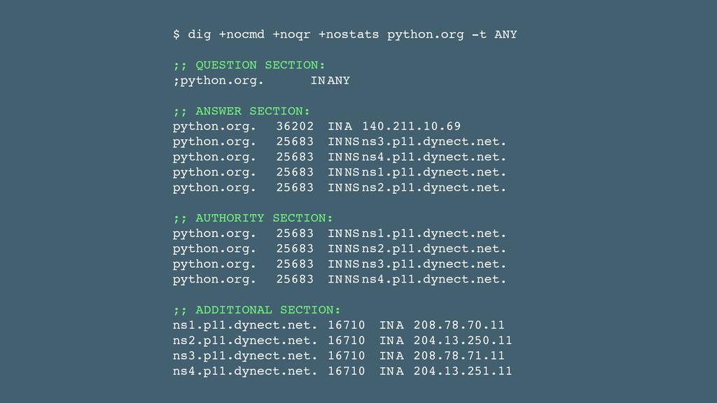 $ dig +nocmd +noqr +nostats python.org -t ANY! ...